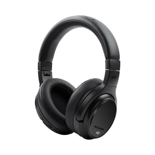 Roxel HD-NC60 Foldable Active Noise Cancelling Premium Wireless Over Ear Headphone up to 46 hours battery life, Bluetooth Compatible with Android and IOS Devices, Answer Incoming Calls with Built in Mic, Matte Black